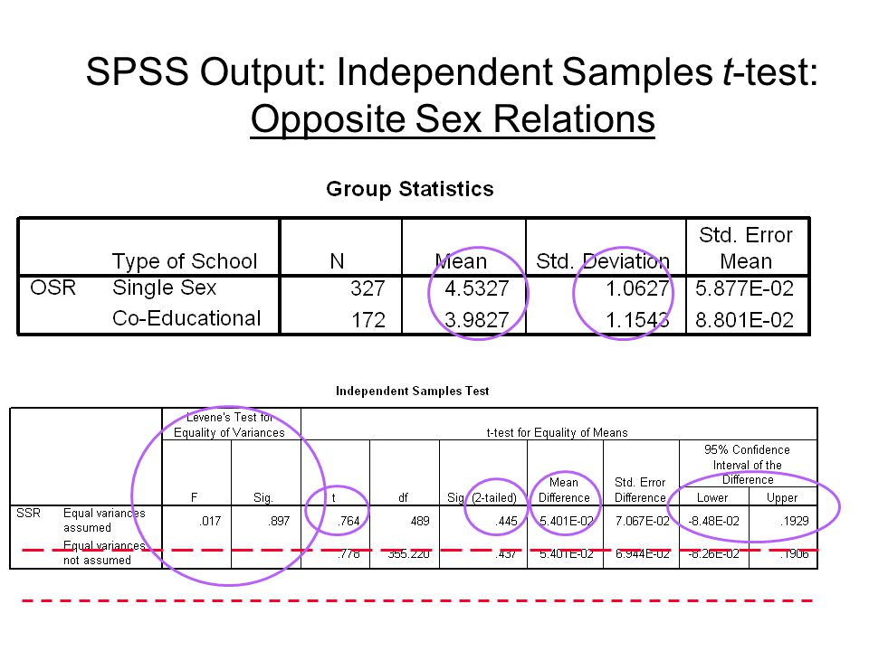 SPSS Output: Independent Samples t-test: Opposite Sex Relations