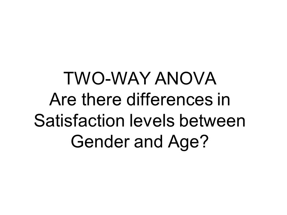 TWO-WAY ANOVA Are there differences in Satisfaction levels between Gender and Age