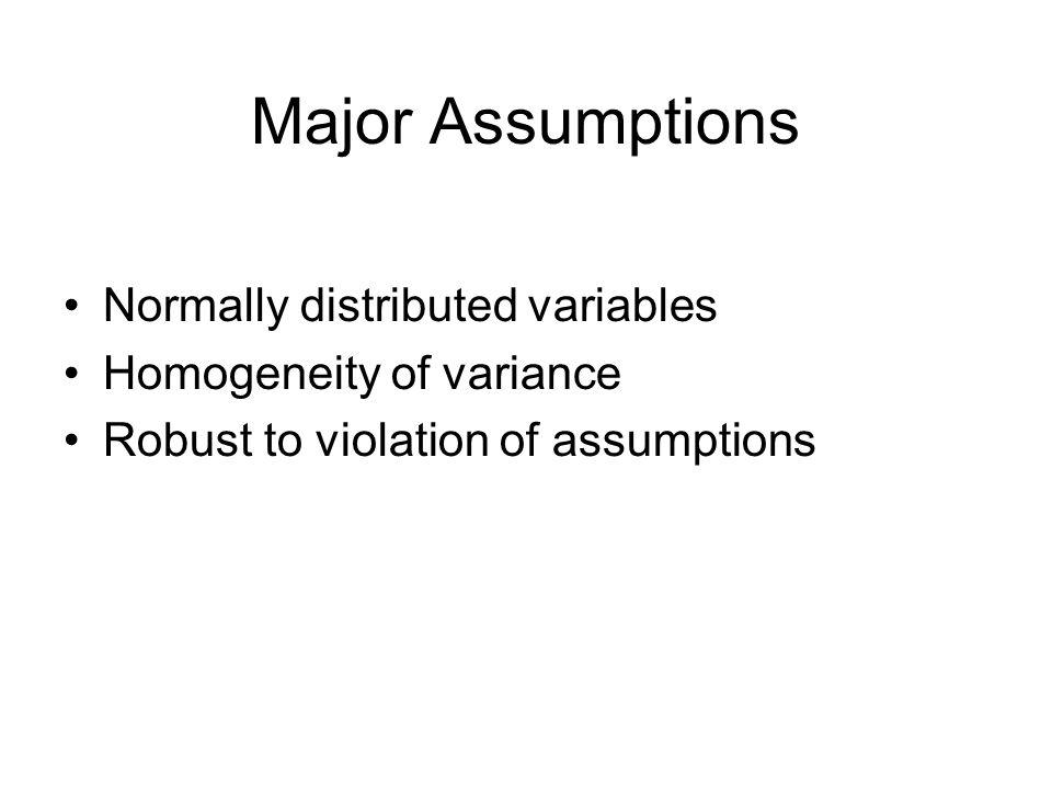 Assumptions of ANCOVA As per ANOVA Normality Homogeneity of Variance (use Levene's test)