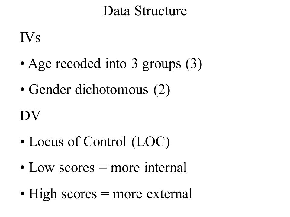 IVs Age recoded into 3 groups (3) Gender dichotomous (2) DV Locus of Control (LOC) Low scores = more internal High scores = more external Data Structu
