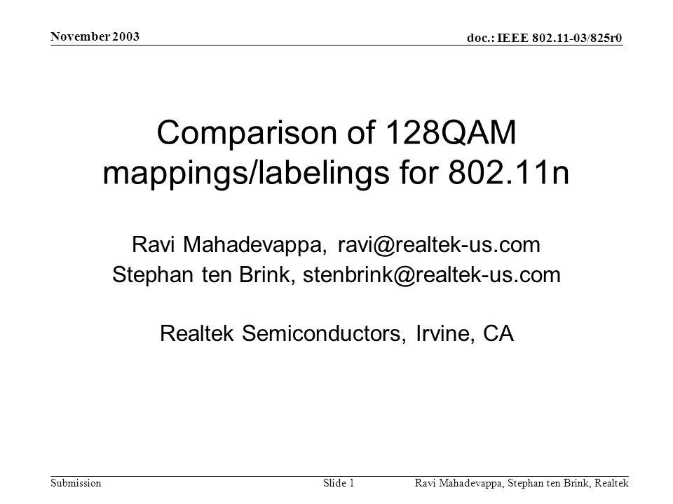 doc.: IEEE 802.11-03/825r0 Submission November 2003 Ravi Mahadevappa, Stephan ten Brink, Realtek Slide 1 Comparison of 128QAM mappings/labelings for 802.11n Ravi Mahadevappa, ravi@realtek-us.com Stephan ten Brink, stenbrink@realtek-us.com Realtek Semiconductors, Irvine, CA