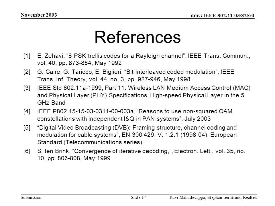 doc.: IEEE 802.11-03/825r0 Submission November 2003 Ravi Mahadevappa, Stephan ten Brink, Realtek Slide 17 References [1]E.