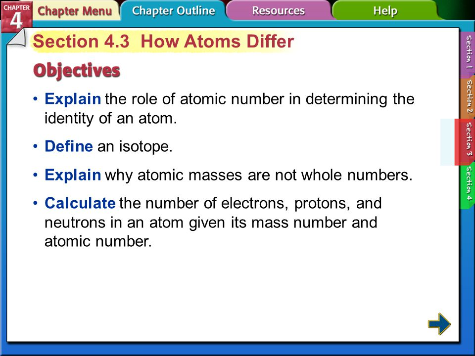 Section 4-3 Section 4.3 How Atoms Differ Explain the role of atomic number in determining the identity of an atom.
