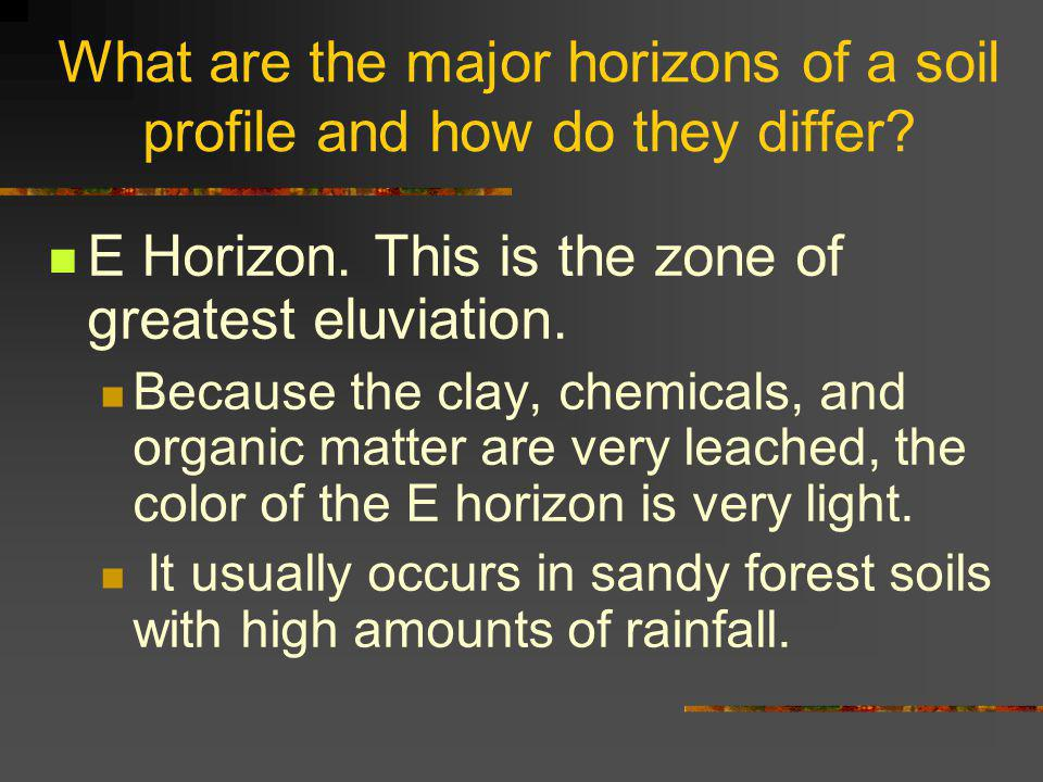 What are the major horizons of a soil profile and how do they differ.