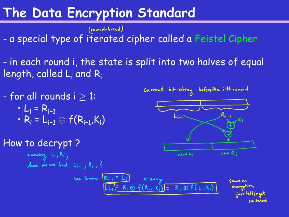 The Data Encryption Standard Recall: L i = R i−1 R i = L i−1 © f(R i−1,K i ) DES: - a 16-round Feistel cipher with block length 64 - a 56-bit key; each round key has 48 bits (a different subset of key bits is used in each round – known as the key schedule ) See Figure 4.4 in the book or Figure 1 in Landau.