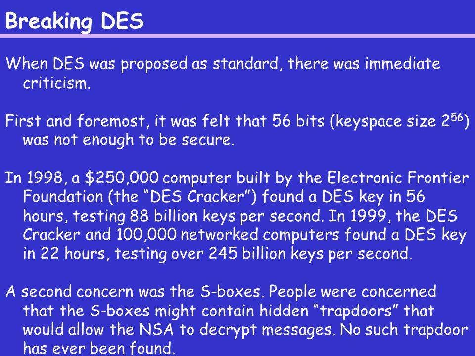 Differential Cryptanalysis Biham and Shamir discovered differential cryptanalysis for DES.