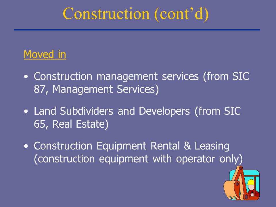 Construction (cont'd) Moved in Construction management services (from SIC 87, Management Services) Land Subdividers and Developers (from SIC 65, Real