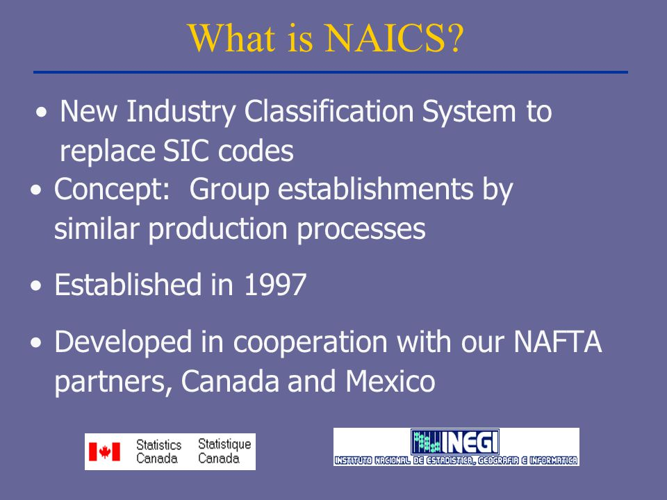 What is NAICS? Concept: Group establishments by similar production processes Established in 1997 Developed in cooperation with our NAFTA partners, Can