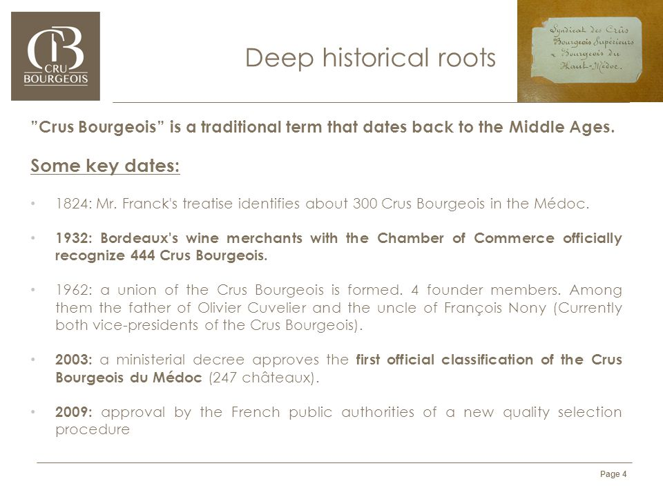 l'Alliance des Crus Bourgeois du Médoc - CONFIDENTIAL DOCUMENT Page 4 Deep historical roots Crus Bourgeois is a traditional term that dates back to the Middle Ages.