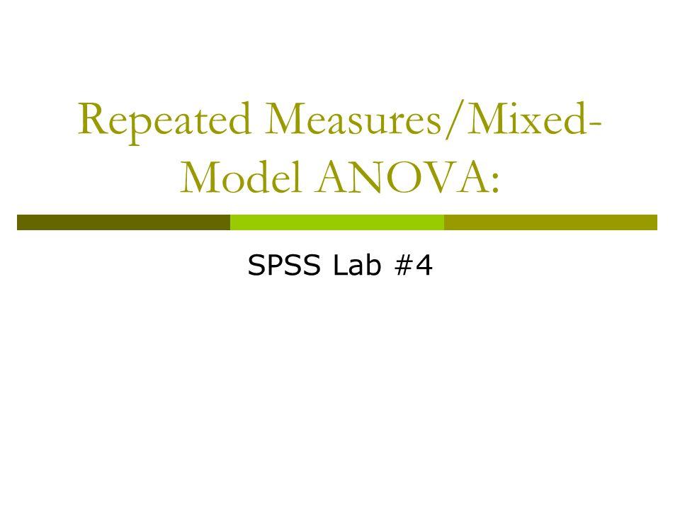 MANOVA  Multivariate ANOVA (MANOVA) Both 2+ IV's and 2+ DV's  SPSS won't run with only 1 DV Click Analyze  General Linear Model  Multivariate…  Same as Univariate… command, but lets you add 2+ DV's Multivariable ANOVA = Either 2+ IV's or 2+ DV's Factorial ANOVA = 2+ IV's