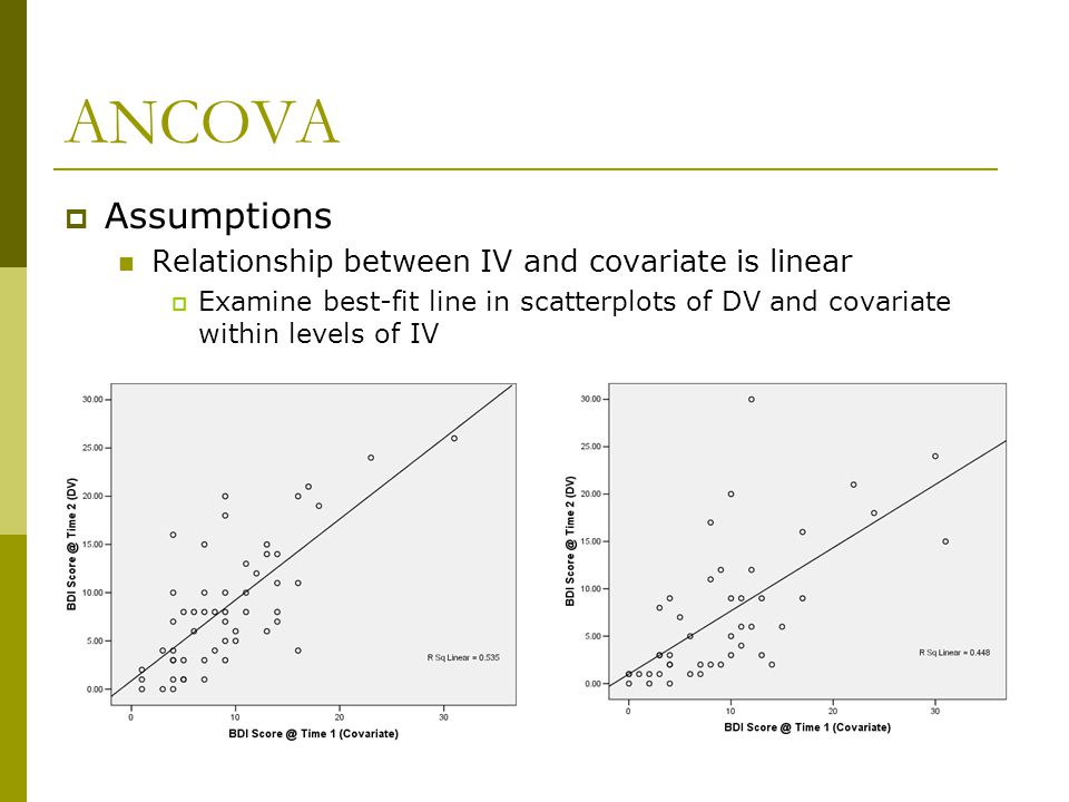 ANCOVA  Assumptions Relationship between IV and covariate is linear  Examine best-fit line in scatterplots of DV and covariate within levels of IV