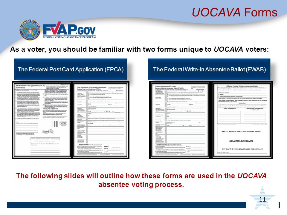 11 UOCAVA Forms As a voter, you should be familiar with two forms unique to UOCAVA voters: The following slides will outline how these forms are used in the UOCAVA absentee voting process.