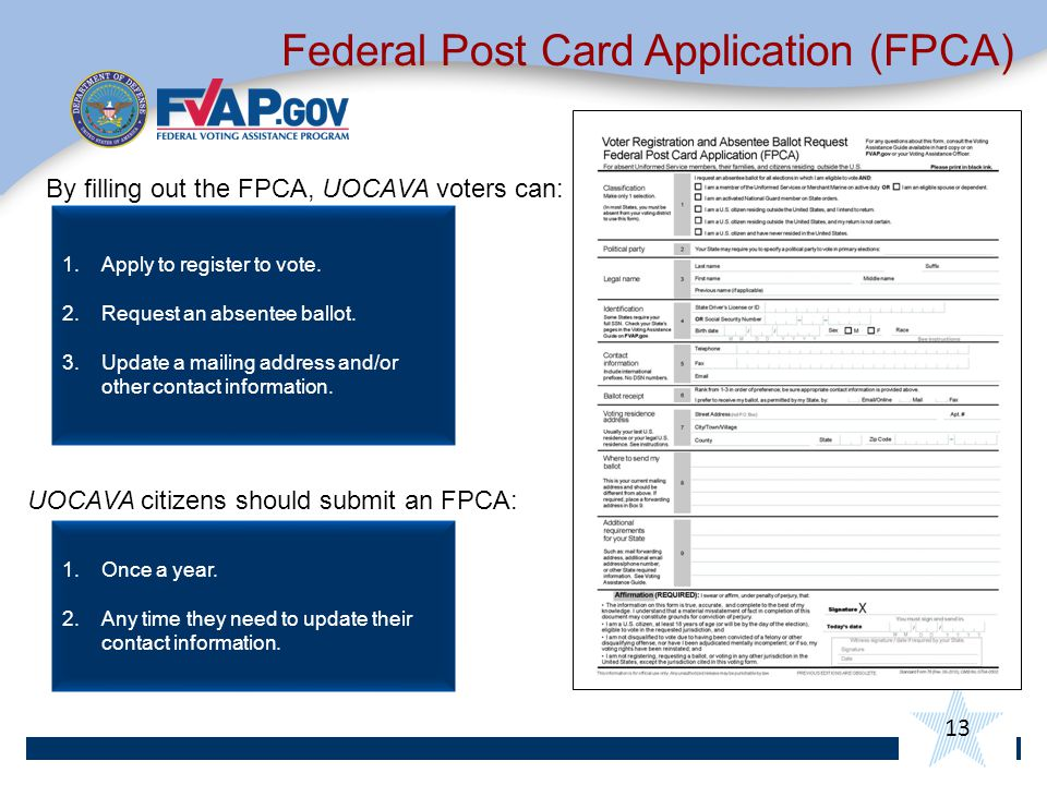 13 By filling out the FPCA, UOCAVA voters can: Federal Post Card Application (FPCA) 1.Apply to register to vote.