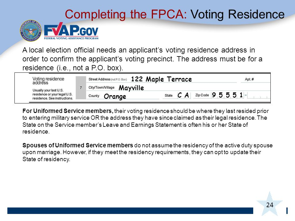 24 A local election official needs an applicant's voting residence address in order to confirm the applicant's voting precinct.