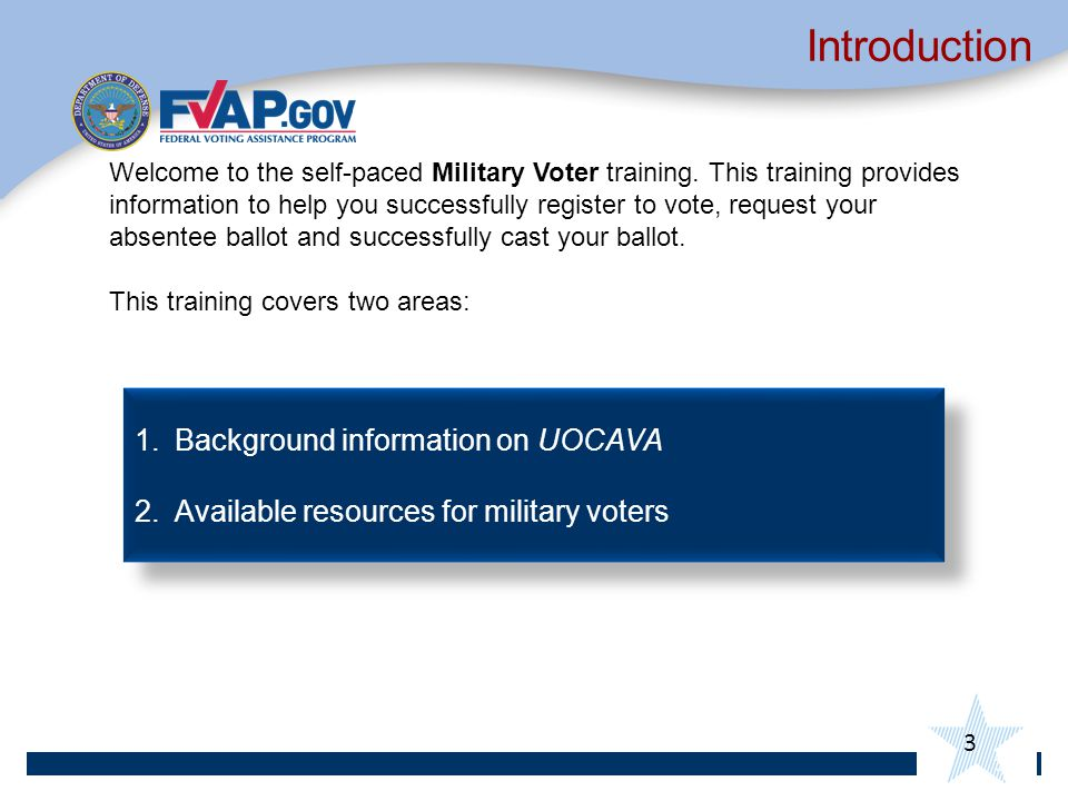3 Introduction 3 Welcome to the self-paced Military Voter training.