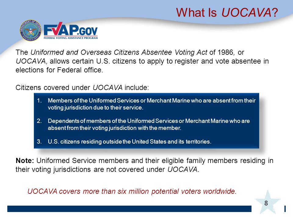 8 What Is UOCAVA.