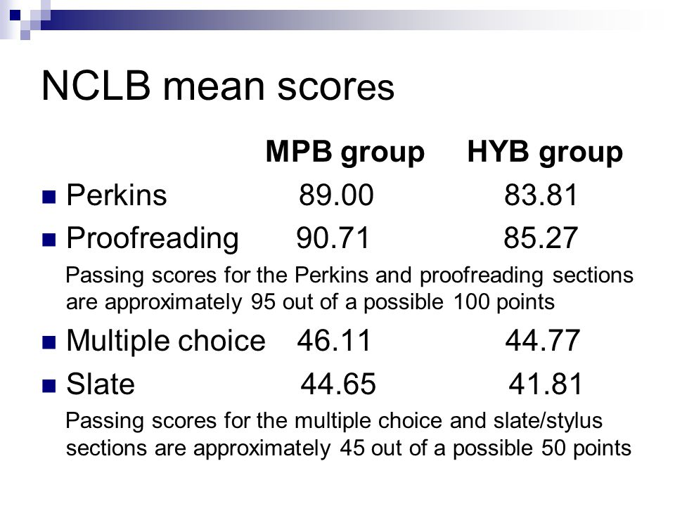 NCLB mean scor es MPB group HYB group Perkins 89.00 83.81 Proofreading 90.71 85.27 Passing scores for the Perkins and proofreading sections are approximately 95 out of a possible 100 points Multiple choice 46.11 44.77 Slate 44.65 41.81 Passing scores for the multiple choice and slate/stylus sections are approximately 45 out of a possible 50 points