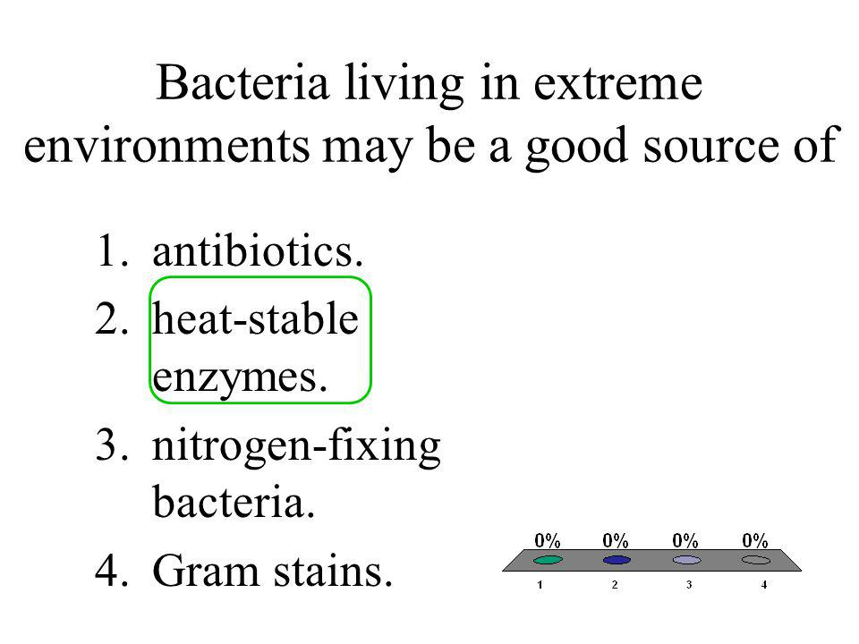 Bacteria living in extreme environments may be a good source of 1.antibiotics. 2.heat-stable enzymes. 3.nitrogen-fixing bacteria. 4.Gram stains.