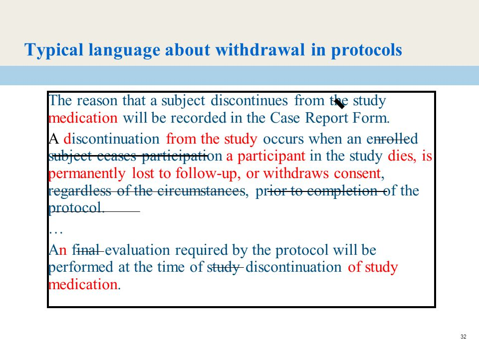 32 Typical language about withdrawal in protocols The reason that a subject discontinues from the study medication will be recorded in the Case Report Form.