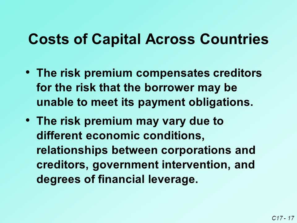 C17 - 17 Costs of Capital Across Countries The risk premium compensates creditors for the risk that the borrower may be unable to meet its payment obl
