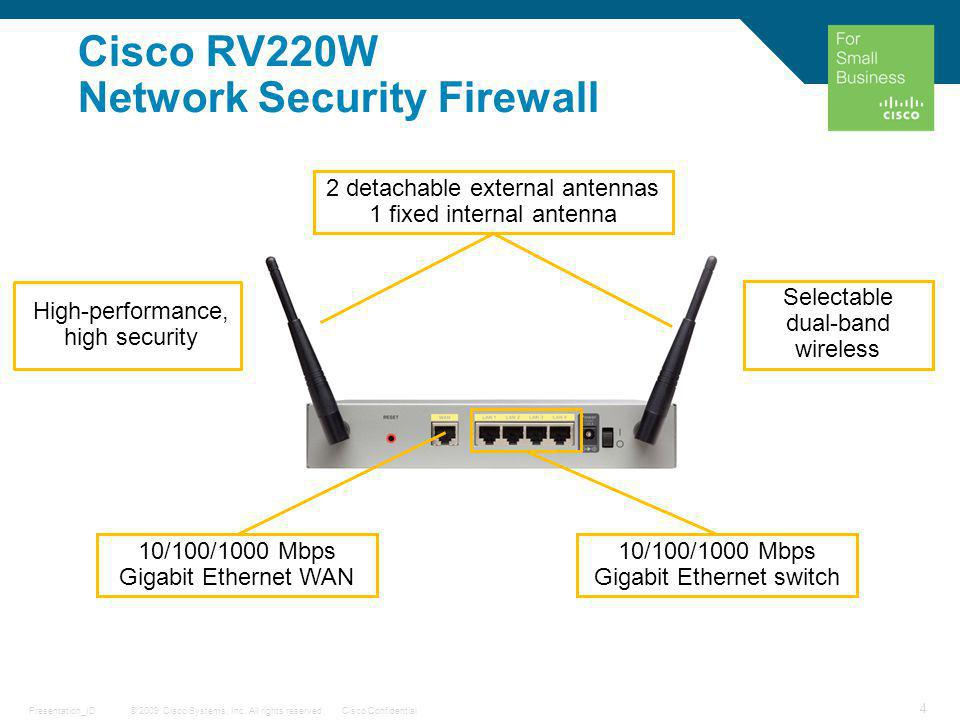 © 2009 Cisco Systems, Inc. All rights reserved.Cisco ConfidentialPresentation_ID 4 Cisco RV220W Network Security Firewall 2 detachable external antenn