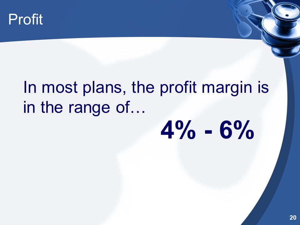 Profit In most plans, the profit margin is in the range of… 4% - 6% 20