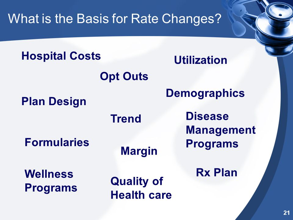 Margin Quality of Health care Hospital Costs Plan Design Opt Outs Rx Plan Formularies Disease Management Programs Wellness Programs Trend Utilization Demographics What is the Basis for Rate Changes.