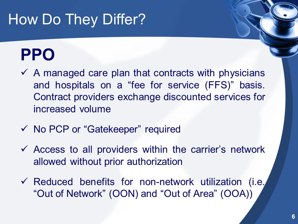 """How Do They Differ? PPO A managed care plan that contracts with physicians and hospitals on a """"fee for service (FFS)"""" basis. Contract providers exchan"""