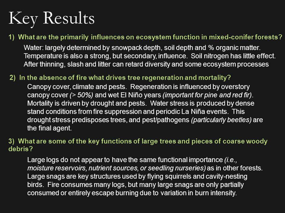 4) How does thinning affect fire intensity and extent.