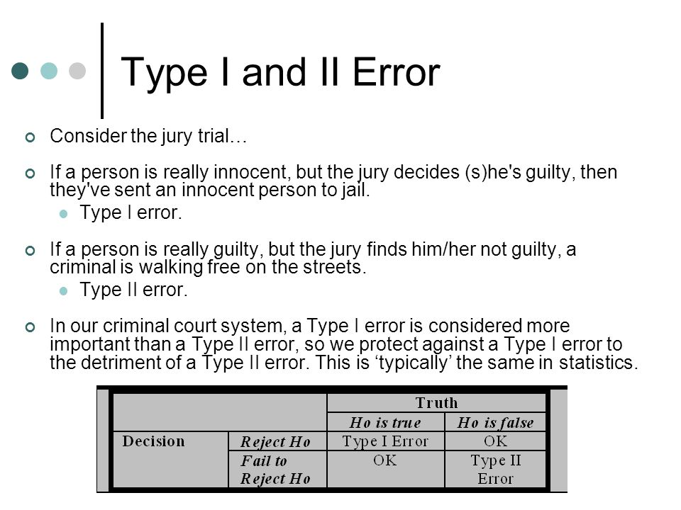 Type I and II Error Consider the jury trial… If a person is really innocent, but the jury decides (s)he s guilty, then they ve sent an innocent person to jail.