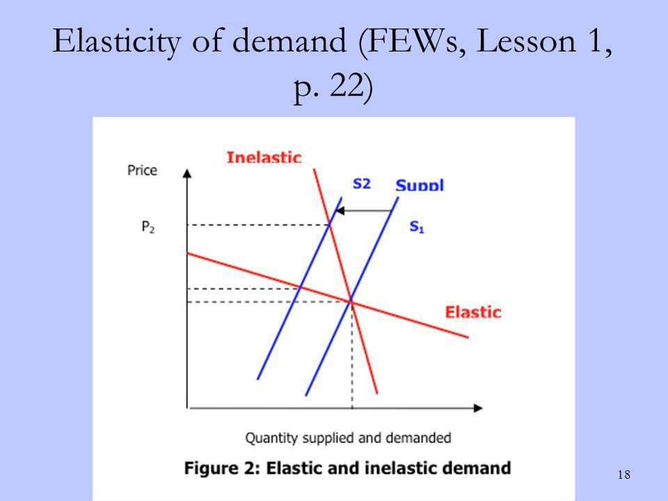 Elasticity of demand (FEWs, Lesson 1, p. 22) 18