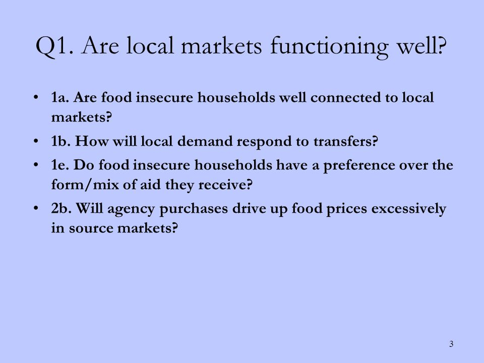 1a. Are food insecure households well connected to local markets.