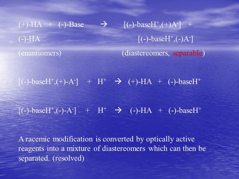 (+)-HA + (-)-Base  [(-)-baseH +,(+)A - ] + (-)-HA [(-)-baseH +,(-)A - ] (enantiomers) (diastereomers, separable) [(-)-baseH +,(+)-A - ] + H +  (+)-H