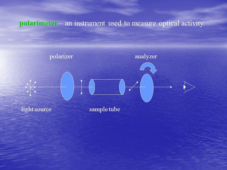 polarimeter – an instrument used to measure optical activity. light sourcesample tube polarizer analyzer