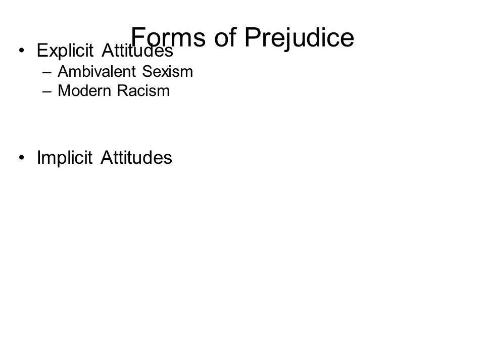 Forms of Prejudice Explicit Attitudes –Ambivalent Sexism –Modern Racism Implicit Attitudes