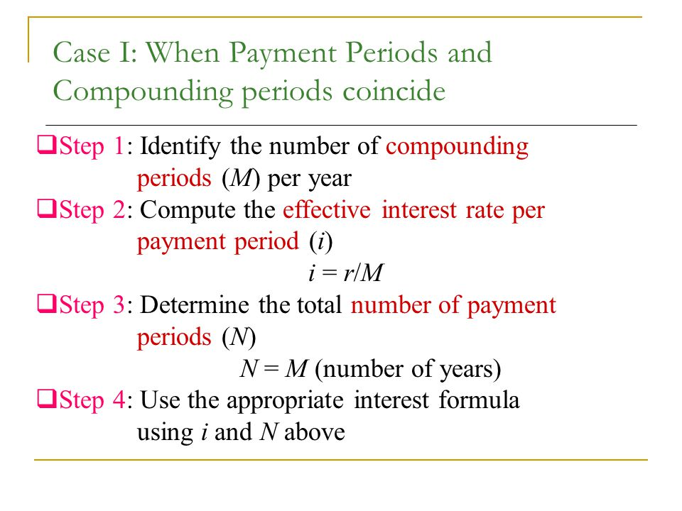 Case I: When Payment Periods and Compounding periods coincide  Step 1: Identify the number of compounding periods (M) per year  Step 2: Compute the effective interest rate per payment period (i) i = r/M  Step 3: Determine the total number of payment periods (N) N = M (number of years)  Step 4: Use the appropriate interest formula using i and N above