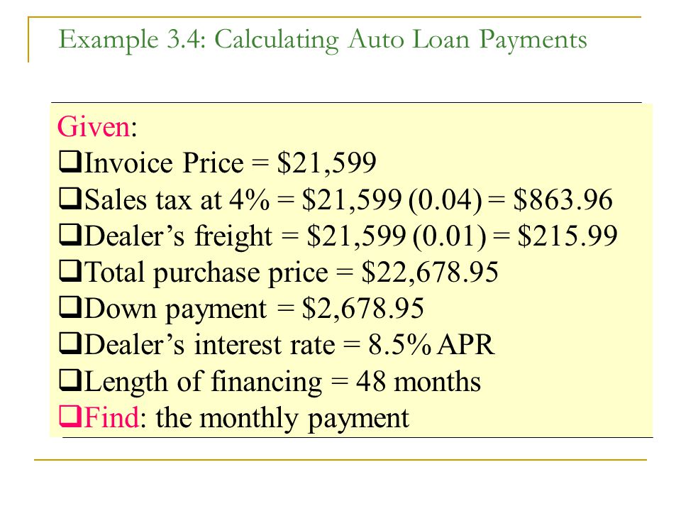 Example 3.4: Calculating Auto Loan Payments Given:  Invoice Price = $21,599  Sales tax at 4% = $21,599 (0.04) = $863.96  Dealer's freight = $21,599 (0.01) = $215.99  Total purchase price = $22,678.95  Down payment = $2,678.95  Dealer's interest rate = 8.5% APR  Length of financing = 48 months  Find: the monthly payment