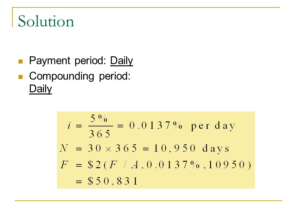 Solution Payment period: Daily Compounding period: Daily