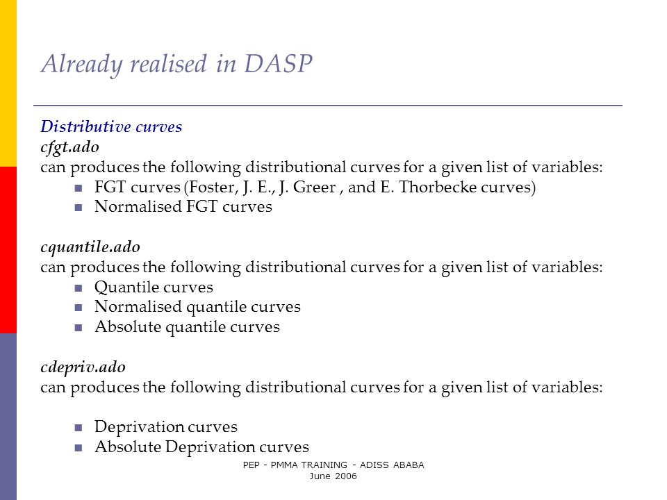PEP - PMMA TRAINING - ADISS ABABA June 2006 Already realised in DASP Distributive curves cfgt.ado can produces the following distributional curves for
