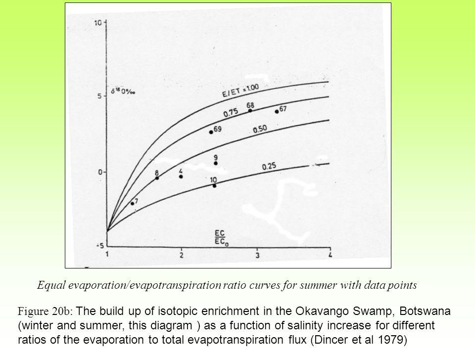 Equal evaporation/evapotranspiration ratio curves for summer with data points Figure 20b: The build up of isotopic enrichment in the Okavango Swamp, Botswana (winter and summer, this diagram ) as a function of salinity increase for different ratios of the evaporation to total evapotranspiration flux (Dincer et al 1979)