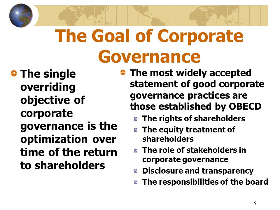 6 The Structure of Corporate Governance The internal forces, the officers of the corporation and the Board of directors, are those directly responsible for determining the strategic direction and the execution of the company's future The external forces include: The equity markets The analysts The creditors and credit agencies who lend them money The auditors The multitude of regulators