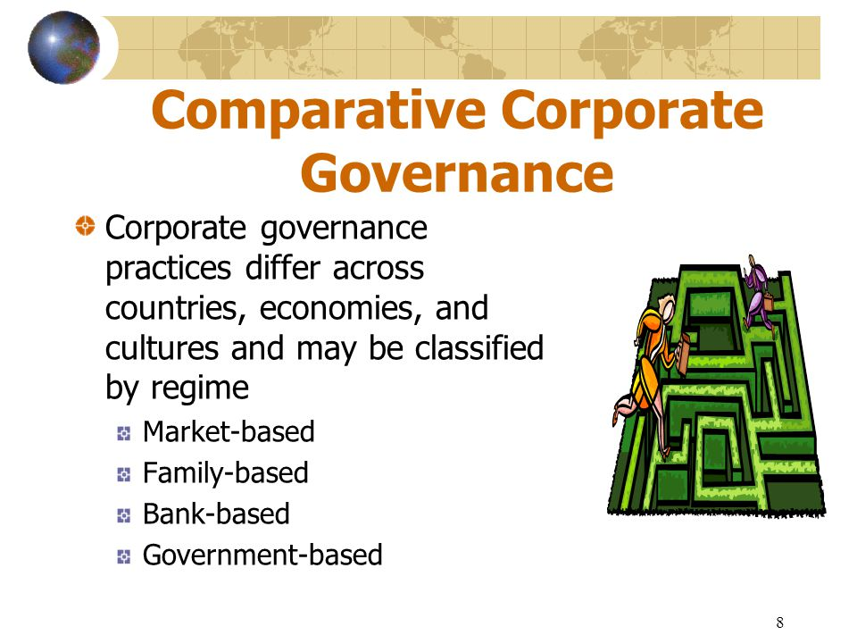 9 Comparative Corporate Governance (cont.) Corporate governance regimes are a function of three major factors in the evolution of global corporate governance principles and practices Financial market development Degree of separation between management and ownership Concept of disclosure and transparency