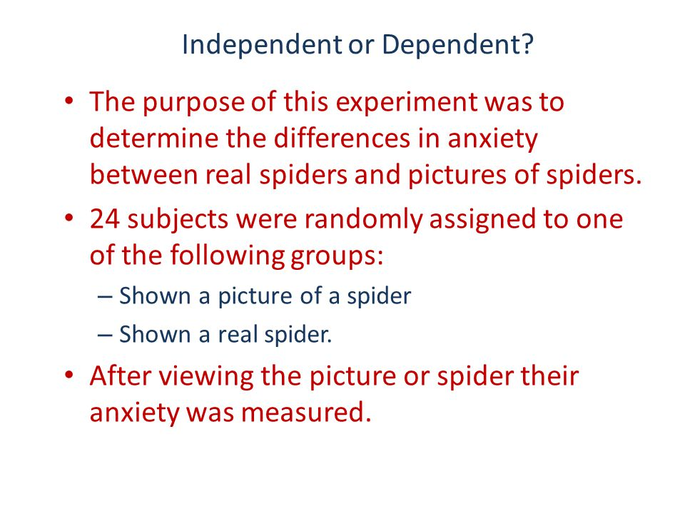 Independent or Dependent? The purpose of this experiment was to determine the differences in anxiety between real spiders and pictures of spiders. 24