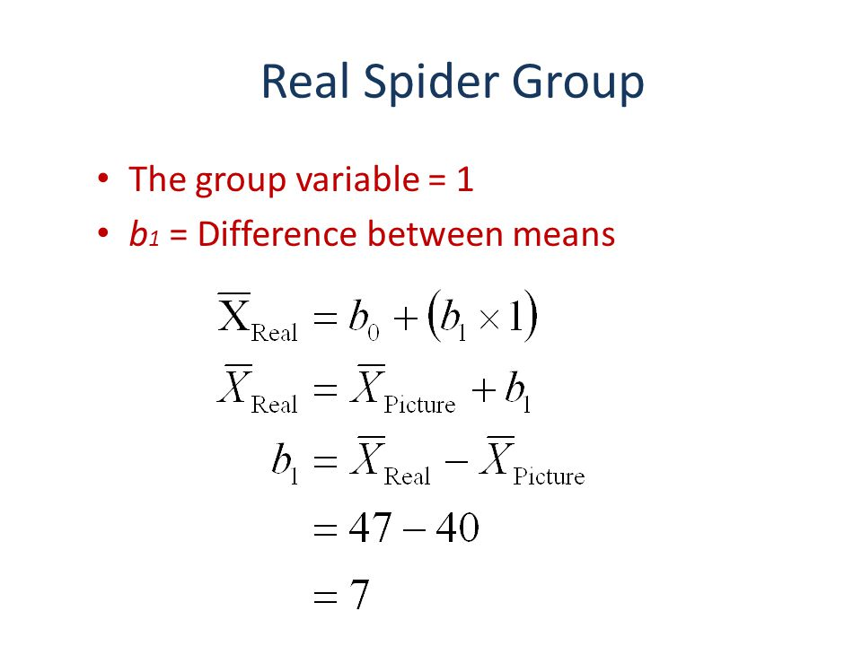 Real Spider Group The group variable = 1 b 1 = Difference between means