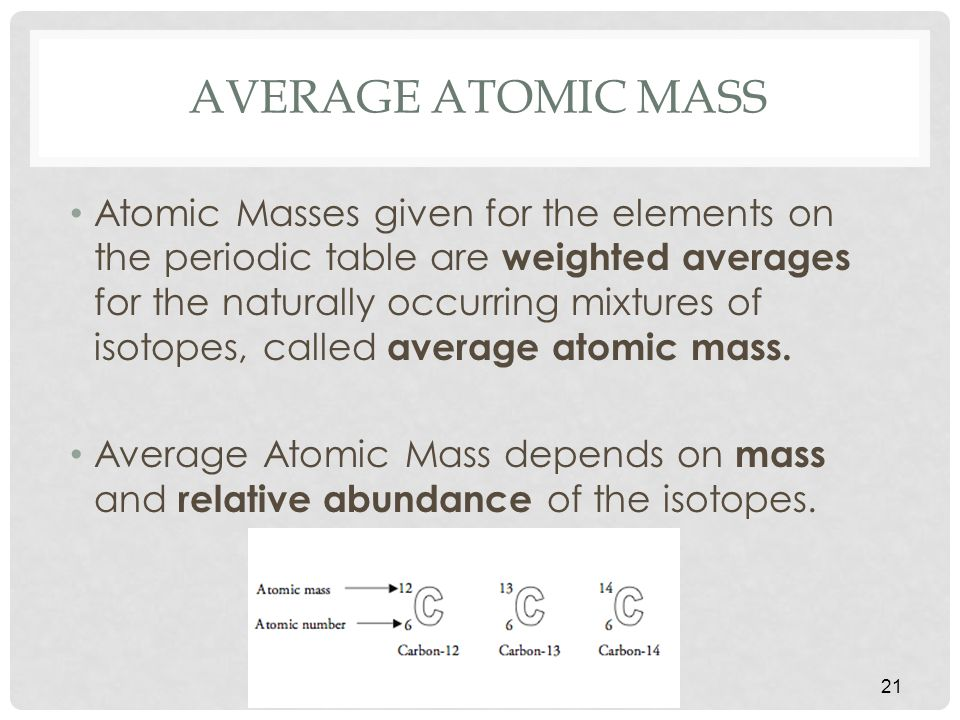 AVERAGE ATOMIC MASS Atomic Masses given for the elements on the periodic table are weighted averages for the naturally occurring mixtures of isotopes, called average atomic mass.
