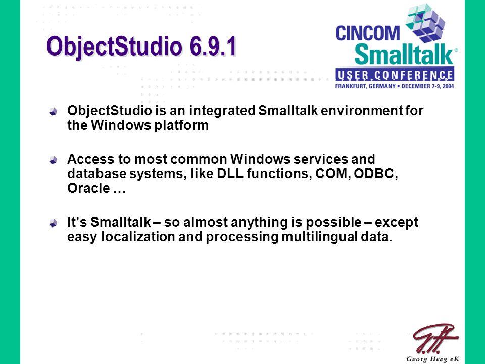 ObjectStudio 6.9.1 in a Unicode World ObjectStudio (ANSI/OEM) Operating System (Unicode) Other programs (Unicode) Data sources (Unicode) .