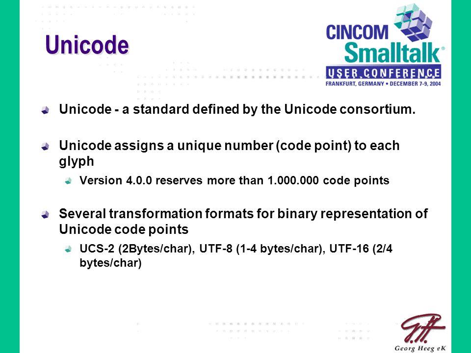 Unicode Unicode - a standard defined by the Unicode consortium.
