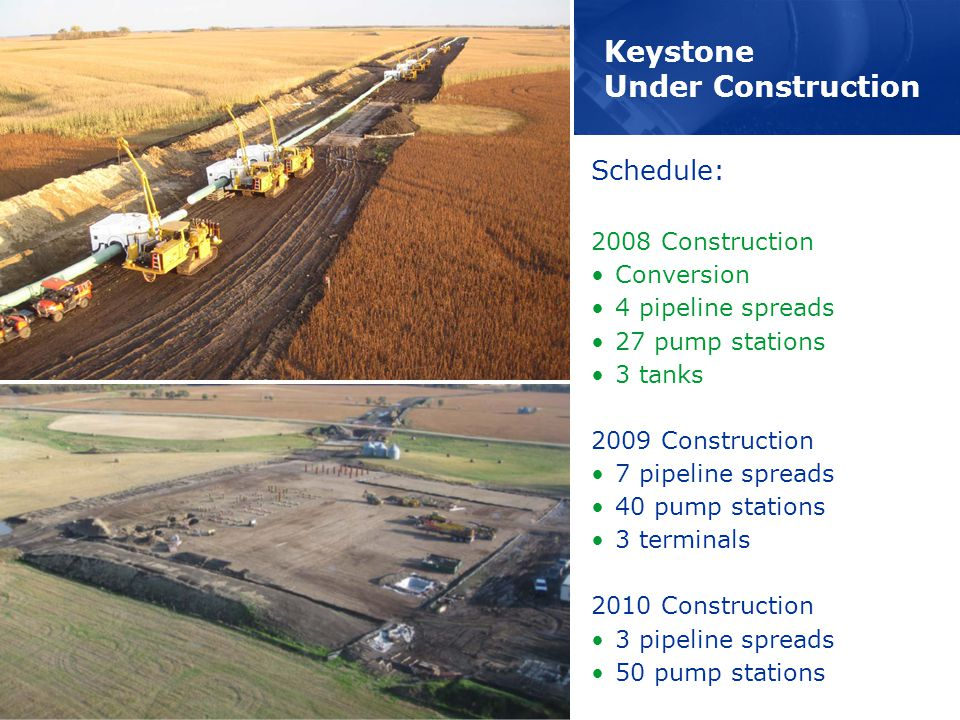 Keystone Under Construction Schedule: 2008 Construction Conversion 4 pipeline spreads 27 pump stations 3 tanks 2009 Construction 7 pipeline spreads 40 pump stations 3 terminals 2010 Construction 3 pipeline spreads 50 pump stations