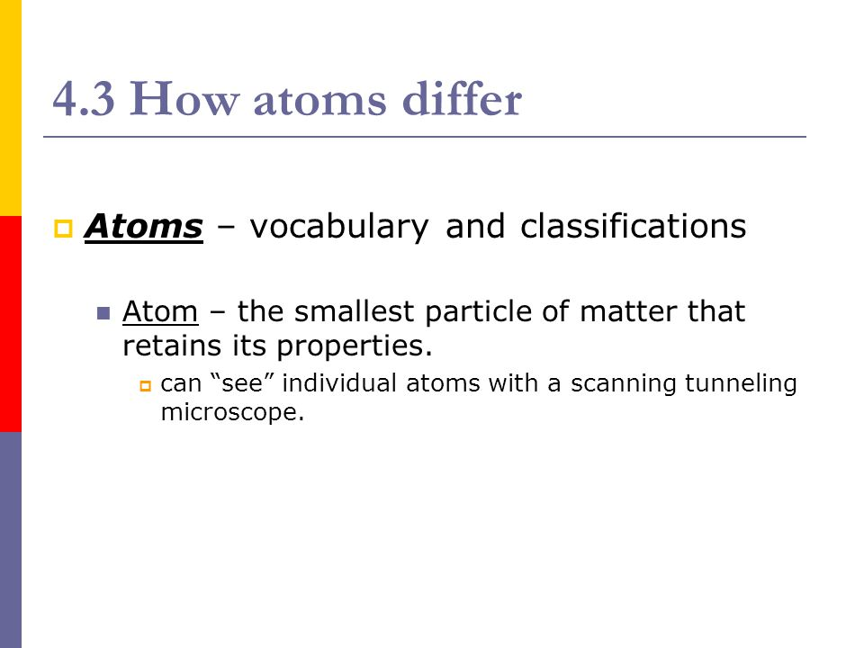 4.3 How atoms differ  Subatomic particles – the component parts of an atom: proton, neutron, and electron