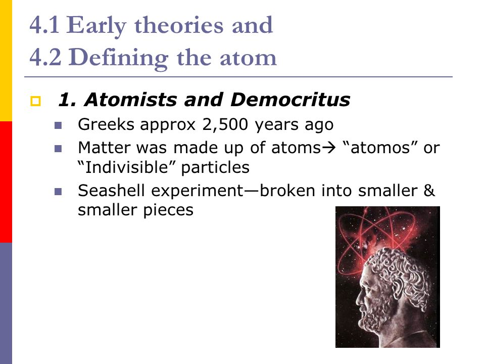 4.1 Early theories and 4.2 Defining the atom  2.